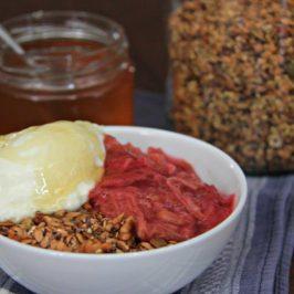 Simple Home Made Muesli with Yogurt, Rhubarb, and Honey