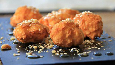 Serving - The Best Authentic Loukoumades Greek Donuts Recipe compassandfork.com