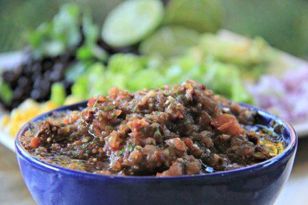 Quick Easy to Make Authentic Tomatillo Chipotle Salsa - Serving compassandfork.com