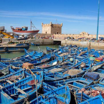 Blue fishing boats in Essaouira